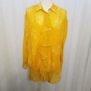 Cinq a Sept Sz M Yellow Eden Rosalie Silk Blouse